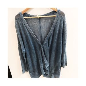 Free People blue linen snap cardigan sweater large